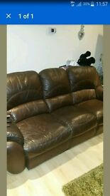 Brown leather 3 seater sofa free to anyone collect asap
