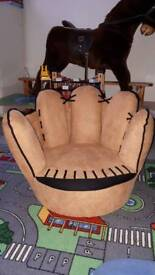 Children's unique baseball glove chair