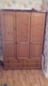 LOVELY PINE TRIPLE WARDROBE WITH 4 DRAWERS