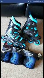 No Fear Inline Skates Size 1-4 & Protection Pack