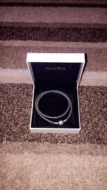 Grey leather pandora bracelet
