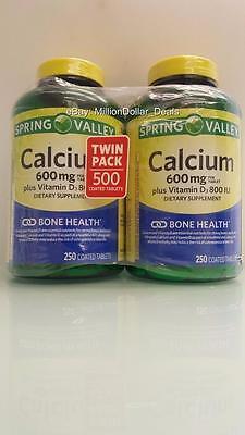 Spring Valley 600 Mg Calcium   800 Iu Vitamin D3 Bone Health 500 Coated Tabs 2Pk