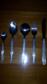 30 piece cutlery set, new, floral pattern, Retro