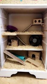 Handmade wooden hamster cage with all the accessories