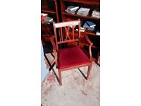 Red-upholstered Carver Chair in Good Condition