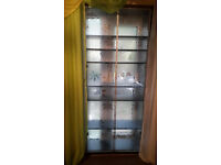beautiful twins 2x glass display cabinets with adjustable shelves