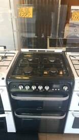 HOTPOINT BLACK 60CM WIDE DUEL FUEL DOUBLE OVEN COOKER