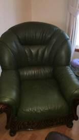 Olive geeen learther 3 seater and 2 chairs