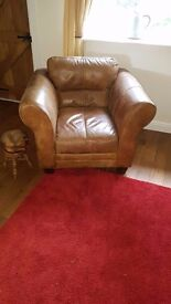 leather chair and stool