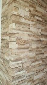 1 Roll Brown brick effect wallpaper