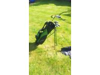 Junior Golf Bag and Clubs with practice net