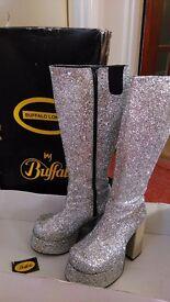 Platform knee high silver glitter boots size 37