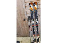 Rossignol Zenith 162cm skis + original bindings + Leki 48'' poles + ski cover