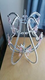 Pink princess light chandelier silver with pink crystals