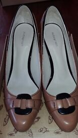 Leather ladies shoes size 7/40. £10 plus postage.Tan and black, 3 1/2 inch heel