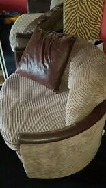 corner 2 piece sofa and cuddle chair. chair is big!