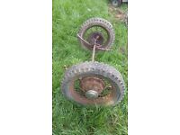 Vintage ford poss model y front axel and wire wheels
