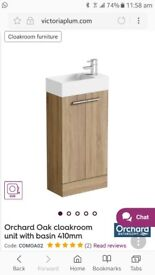 Brand new cloakroom basin with vanity unit for sale