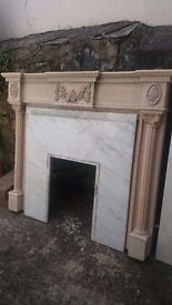 Wood and marble fireplace