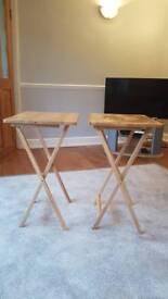 2 Folding Tray Tables Size H65.5, W49, D37.5cm