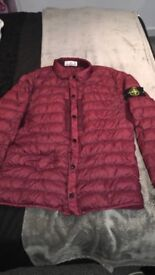 Stone island garmet dyed micro yarn down jacket burgundy new season