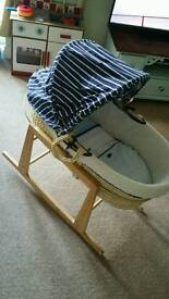 Mothercare moses basket + stand + bedding + extras