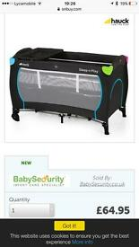 Baby travel cot hardly used
