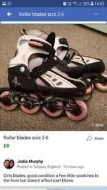 Roller blades size 3-6
