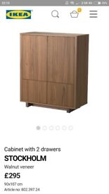 Cabinet with 2 drawers STOCKHOLM Walnut + Green (More then 50% off)