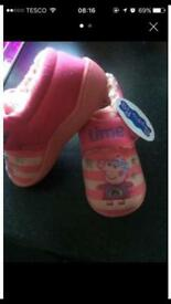 Minnie Mouse and Peppa Pig slippers (toddler baby footware xmas)