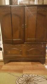 Beautiful ANTIQUE Cabinet for CHEAP[ Cupboards Storage Wardrobe Wood Oak Maroon Brown Dark]