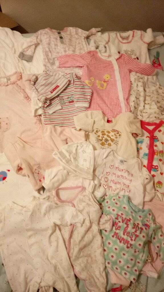 Baby Clothes BundleUp to 9lbsin Glenfield, LeicestershireGumtree - This bundle of baby clothes would suit a newborn baby girl up to 9lbs and consists mainly of vests and baby grows, in good condition and from a smoke free environment. Approximately 28 items. £15 ono