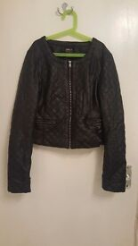 Faux leather quilted black jacket