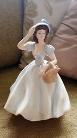 "COALPORT LADIES OF FASHION CHRISTINA PORCELAIN FIGURINE 8.5"" BLUE"