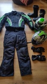 Spada full wet weather gear jacket jeans boots helmet and gloves