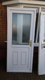 used white upvc door 865 w x 2075 hinged on left from outside view