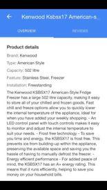 American style kenwood fridge freezer