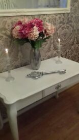 Shabby Chic White and silver console/side table. £115 Or Nearest Offer