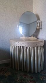 Dressing table with mirror and lamps