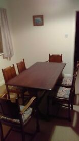 Dining table and six chairs.
