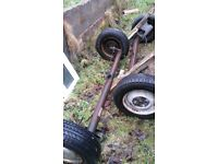2 complete axle wheels tyres brake ready to make on good trailer