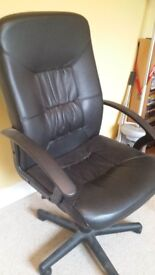 Office Chair - black leather good condition