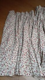 Curtains cream with leaf pattern fully lined with matching cushions