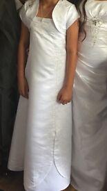 2 beautiful white bridesmaids/flower girl dresses