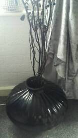 Black gloss vase and black sticks