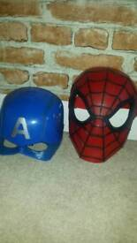 Spiderman and Captain America masks