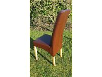 6 brown high back dining chairs with beech legs