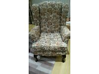 two high back wing chairs in excellent condition