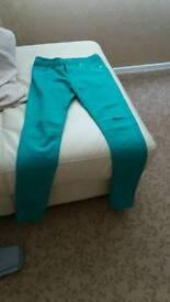 Jade green skinny jeans size 10