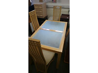 Pine Dining Table with glass panels